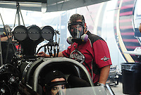 Jul, 10, 2011; Joliet, IL, USA: NHRA top fuel dragster crew members for driver Larry Dixon during the Route 66 Nationals at Route 66 Raceway. Mandatory Credit: Mark J. Rebilas-