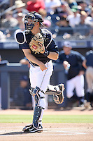 Nick Hundley - San Diego Padres, playing in a spring training game against the Cleveland Indians at Peoria Stadium, 03/14/2010..Photo by:  Bill Mitchell/Four Seam Images.