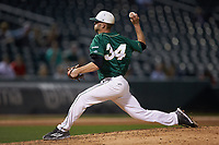 Relief pitcher Philip Perry (34) of the Charlotte 49ers in action against the Georgia Bulldogs at BB&T Ballpark on March 8, 2016 in Charlotte, North Carolina. The 49ers defeated the Bulldogs 15-4. (Brian Westerholt/Four Seam Images)