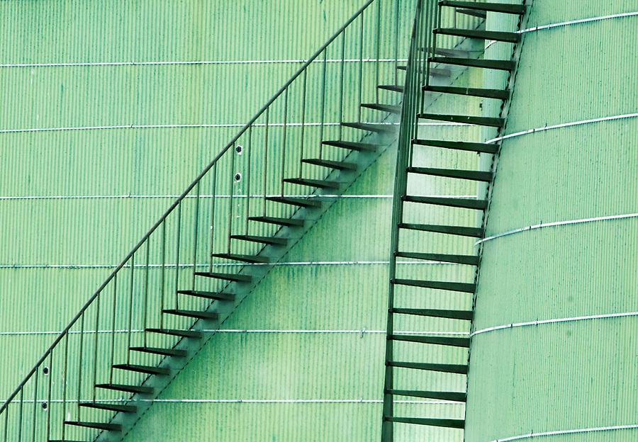 Stairways on side of green petroleum storage tanks, Marathon Anacortes Refinery, March Point, Skagit County, Washington, USA