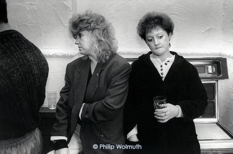 Two women drink in the Grimethorpe pub, opposite the site of the closed colliery of the same name, South Yorkshire.