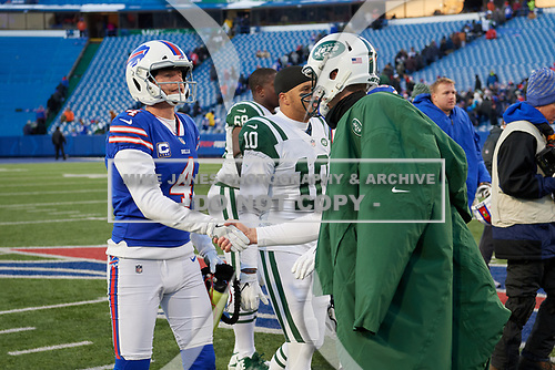 Buffalo Bills Stephen Hauschka (4) shakes hands with Lac Edwards (4) after an NFL football game against the New York Jets, Sunday, December 9, 2018, in Orchard Park, N.Y.  (Mike Janes Photography)