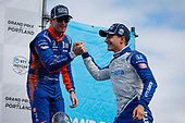 #10: Alex Palou, Chip Ganassi Racing Honda celebrates winning the Grand Prix of Portland, #9: Scott Dixon, Chip Ganassi Racing Honda