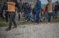 Sam Bewley (NZL/Orica-Scott) crashed on the Haaghoek cobbles & was forced to abandon the race<br /> <br /> 72nd Omloop Het Nieuwsblad 2017