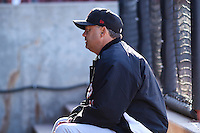 Great Lakes Loons hitting coach John Valentin (13) sits in the dugout prior to a Midwest League game against the Wisconsin Timber Rattlers on April 26th, 2016 at Fox Cities Stadium in Appleton, Wisconsin.  Wisconsin defeated Great Lakes 4-3. (Brad Krause/Four Seam Images)