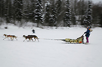 Sunday February 28, 2010  Kaye Berg nears the finish line on Willow lake to finish in 10th place during the 2010 Junior Iditarod . Willow , AK