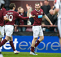 HEARTS' CRAIG BEATTIE CELEBRATES WITH HEARTS' STEPHEN ELLIOTT  AFTER HE HEADS HOME HEARTS' FIRST GOAL