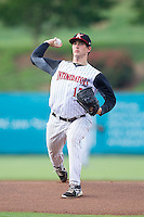 Kannapolis Intimidators starting pitcher Thad Lowry (17) in action against the Savannah Sand Gnats at CMC-Northeast Stadium on June 9, 2014 in Kannapolis, North Carolina.  The Intimidators defeated the Sand Gnats 4-2.  (Brian Westerholt/Four Seam Images)
