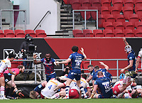 27th March 2021; Ashton Gate Stadium, Bristol, England; Premiership Rugby Union, Bristol Bears versus Harlequins; Bristol Bears celebrate scoring while Referee Hamish Smales checks the play