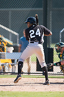 Chicago White Sox third baseman Bryce Bush (24) at bat during an Instructional League game against the Oakland Athletics at Lew Wolff Training Complex on October 5, 2018 in Mesa, Arizona. (Zachary Lucy/Four Seam Images)
