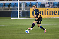 SAN JOSE, CA - OCTOBER 07: Florian Jungwirth #23 of San Jose Earthquakes during a game between Vancouver Whitecaps and San Jose Earthquakes at Earthquakes Stadium on October 07, 2020 in San Jose, California.