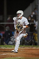 Sarasota Sailors catcher Satchell Norman (19) throws down to second base during a game against the Riverview Rams on February 19, 2021 at Rams Baseball Complex in Sarasota, Florida. (Mike Janes/Four Seam Images)