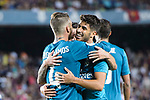 Marco Asensio Willemsen of Real Madrid (R) celebrating his score with Sergio Ramos (L) during the Supercopa de Espana Final 1st Leg match between FC Barcelona and Real Madrid at Camp Nou on August 13, 2017 in Barcelona, Spain. Photo by Marcio Rodrigo Machado / Power Sport Images
