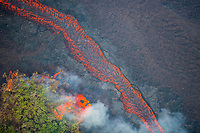 lava emanating from Pu'u O'o on Kilauea Volcano, erupting from fissures in Leilani Estates subdivision, near Pahoa, flows as a molten river through lower Puna, Big Island, Hawaii, USA, outbreaks at lower left consume a patch of vegetation