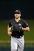 AZL White Sox center fielder Jose Garcia (7) jogs off the field between innings of the game against the AZL Cubs on August 13, 2017 at Sloan Park in Mesa, Arizona. AZL White Sox defeated the AZL Cubs 7-4. (Zachary Lucy/Four Seam Images)