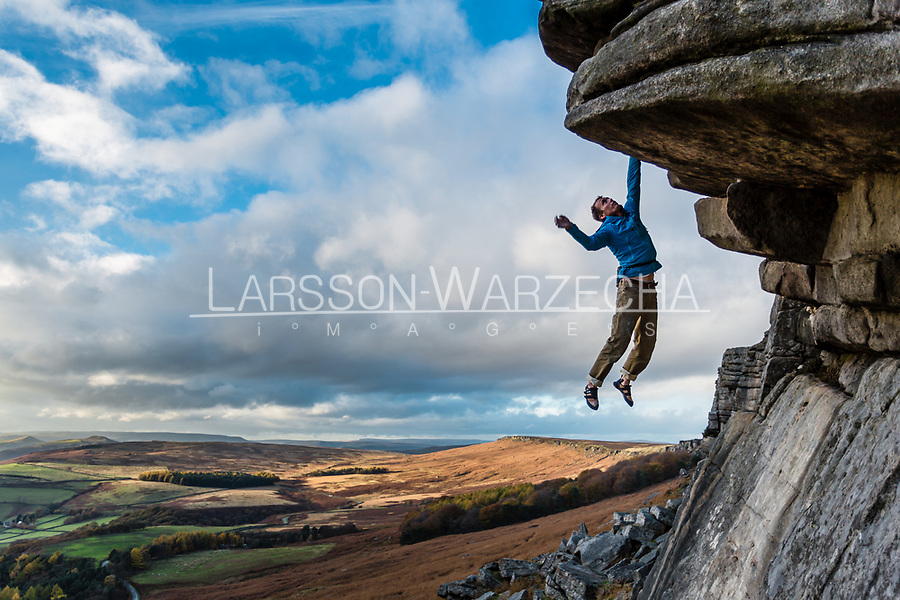 Leo Houlding soloing 'Flying Buttress Direct' E1 5b at Stanage Edge, Peak District, United Kingdom