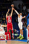 Real Madrid and Crvena Zvezda Telekom during Euroligue Basketball at Barclaycard Center in Madrid, October 22, 2015<br /> Jovic and Gustavo Ayon.<br /> (ALTERPHOTOS/BorjaB.Hojas)