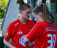 Hanna Mylee (29) of Woluwe and Martyna Rakowicz (38) of Woluwe pictured before a female soccer game between  Racing Genk Ladies and White Star Woluwe on the 8 th matchday of play off 2 in the 2020 - 2021 season of Belgian Scooore Womens Super League , tuesday 18 th of May 2021  in Genk , Belgium . PHOTO SPORTPIX.BE | SPP | JILL DELSAUX
