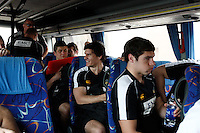 Photo: Richard Lane/Richard Lane Photography. London Wasps in Abu Dhabi for their LV= Cup game against Harlequins on 30th January 2011. 01/02/2011. Wasps' Ben Jacobs on the coach to the airport.