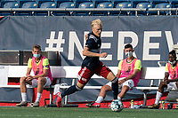 FOXBOROUGH, MA - JULY 25: USL League One (United Soccer League) match. Connor Presley #7 of New England Revolution II brings the ball forward during a game between Union Omaha and New England Revolution II at Gillette Stadium on July 25, 2020 in Foxborough, Massachusetts.