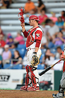Williamsport Crosscutters catcher Sean McHugh (21) during a game against the Aberdeen IronBirds on August 4, 2014 at Bowman Field in Williamsport, Pennsylvania.  Aberdeen defeated Williamsport 6-3.  (Mike Janes/Four Seam Images)