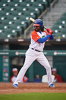 "Buffalo Bisons Alen Hanson (31) at bat during an International League game against the Scranton/Wilkes-Barre RailRiders on June 5, 2019 at Sahlen Field in Buffalo, New York.  The Bisons wore special uniforms as they played under the name the ""Buffalo Wings"". Scranton defeated Buffalo 3-0, the first game of a doubleheader. (Mike Janes/Four Seam Images)"