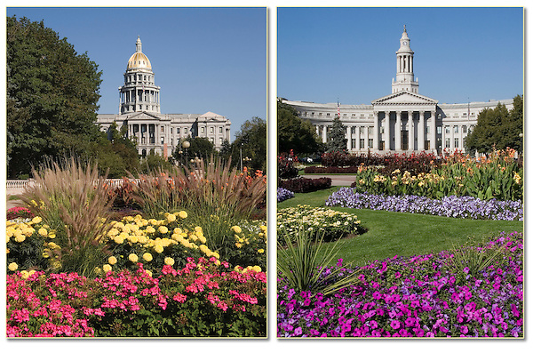 Some fine looking Greek Corinthian architecture. Colorado State Capitol (left),  Denver County Courthouse, Denver, Colorado.