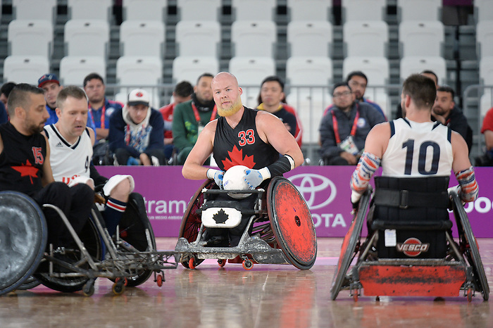 Zak Madell, Lima 2019 - Wheelchair Rugby // Rugby en fauteuil roulant.<br /> Canada takes on the USA in wheelchair rugby // Le Canada affronte les États-Unis au rugby en fauteuil roulant. 27/08/2019.