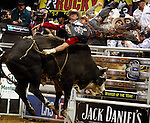 Robson Palermo of Brazil is thrown off the bull Lucky Strike during a PBR bull riding competition in Dallas, Texas on Sunday, June 22, 2008.  (photo by Khampha Bouaphanh)