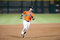 AZL Giants designated hitter Ricardo Genoves (15) hustles towards third base against the AZL Padres 2 on July 13, 2017 at Scottsdale Stadium in Scottsdale, Arizona. AZL Giants defeated the AZL Padres 2 11-3. (Zachary Lucy/Four Seam Images)