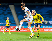 SOLNA, SWEDEN - APRIL 10: Carli Lloyd #10 of the USWNT controls the ball during a game between Sweden and USWNT at Friends Arena on April 10, 2021 in Solna, Sweden.