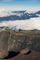 France, île de la Réunion, Parc national de La Réunion, classé Patrimoine Mondial de l'UNESCO, volcan Piton de la Fournaise, Cratère Commerson et en fond  la Rivière des Remparts  (vue aérienne)   (vue aérienne)  //  France, Reunion island (French overseas department), Parc National de La Reunion (Reunion National Park), listed as World Heritage by UNESCO, Piton de la Fournaise volcano,  Commerson crater, in the background Riviere des Remparts, (aerial view)