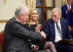 Dr. John Hillery is congratulated by Timmy Dooley as Rita Mc Inerney looks on at the Fianna Fail selection convention in Hotel Woodstock. Photograph by John Kelly.