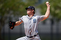 GCL Tigers West relief pitcher Kory Behenna (9) delivers a pitch during a game against the GCL Tigers East on August 8, 2018 at Tigertown in Lakeland, Florida.  GCL Tigers East defeated GCL Tigers West 3-1.  (Mike Janes/Four Seam Images)