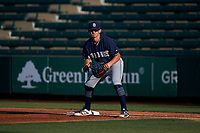 AZL Padres 1 first baseman Tyler Malone (4) during an Arizona League game against the AZL Angels on July 16, 2019 at Tempe Diablo Stadium in Tempe, Arizona. The AZL Padres 1 defeated the AZL Angels 3-1. (Zachary Lucy/Four Seam Images)