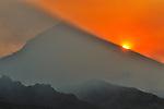Sunrising from behind the Lanin Volcano, Rio Malleo, Argentina.