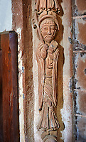Norman Romanesque sculptures on the chancel arch from the interior of the Church of St Mary and St David, Kilpeck Herifordshire, England. Built around 1140