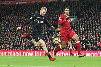 Oliver McBurnie of Swansea City lines up a shot on goal during the Premier League match between Liverpool and Swansea City at Anfield, Liverpool, England, UK. Tuesday 26 December 2017
