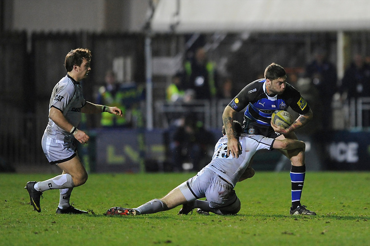 Matt Banahan of Bath Rugby is tackled by Andy Forsyth of Leicester Tigers during the LV= Cup semi final match between Bath Rugby and Leicester Tigers at The Recreation Ground, Bath (Photo by Rob Munro, Fotosports International)