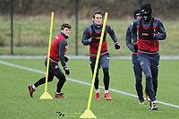 Oliver McBurnie (R) in action with team mates during the Swansea City Training at The Fairwood Training Ground, Swansea, Wales, UK. Thursday 04 January 2018