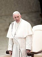 Papa Francesco tiene l'Udienza Generale del mercoledi' in aula Paolo VI in Vaticano, 10 gennaio 2018.<br /> Pope Francis leads his weekly general audience in Paul VI Hall at the Vatican, on January 10, 2018.<br /> UPDATE IMAGES PRESS/Isabella Bonotto<br /> <br /> STRICTLY ONLY FOR EDITORIAL USE