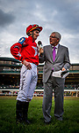 LEXINGTON, KY - OCTOBER 07: Danny Tudhope is interviewed by Mike Battaglia after his upset victory in the Shadwell Turf Mile Stakes at Keeneland Race Course on October 07, 2017 in Lexington, Kentucky. (Photo by Alex Evers/Eclipse Sportswire/Getty Images)