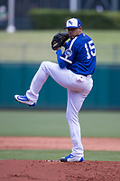 Jair Jurrjens (15) of the Oklahoma City Dodgers winds up during a game against the Iowa Cubs at Chickasaw Bricktown Ballpark on April 9, 2016 in Oklahoma City, Oklahoma.  Oklahoma City defeated Iowa 12-1 (William Purnell/Four Seam Images)