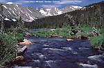 Mitchell Creek leaves Long Lake, with Navajo Peak behind.  Indian Peaks Wilderness Area..<br />
