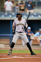 Bradenton Maruaders Rodolfo Castro (6) bats during a Florida State League game against the Charlotte Stone Crabs on August 7, 2019 at Charlotte Sports Park in Port Charlotte, Florida.  Charlotte defeated Bradenton 2-0 in the first game of a doubleheader.  (Mike Janes/Four Seam Images)