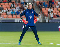 HOUSTON, TX - JUNE 13: Jane Campbell #18 of the USWNT warms up before a game between Jamaica and USWNT at BBVA Stadium on June 13, 2021 in Houston, Texas.
