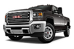 Stock pictures of low aggressive front three quarter view of a 2018 GMC Sierra 3500HD 2WD Crew Cab Standard Box SLT 4 Door Pick Up