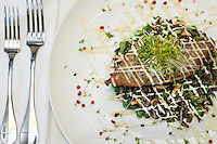 The Terrace Restaurant, St. John<br /> Sauteed Mahi Mahi<br /> wild rice salad, sweet peas, almonds, scallions, preserved lemon, micro greens, meyer lemon aioli