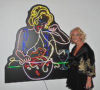 """Amanda Eliasch at reception for her neon art exhibition """"Peccadilloes"""" at the Leadapron Gallery, West Hollywood..June 16, 2011  Los Angeles, CA.Picture: Paul Smith / Featureflash"""