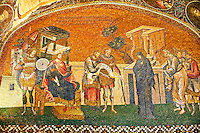 The 11th century Roman Byzantine Church of the Holy Saviour in Chora and its mosaic of Joseph and Mary and the enrollment for the census for taxation (panelA-2). Endowed between 1315-1321  by the powerful Byzantine statesman and humanist Theodore Metochites. Kariye Museum, Istanbul